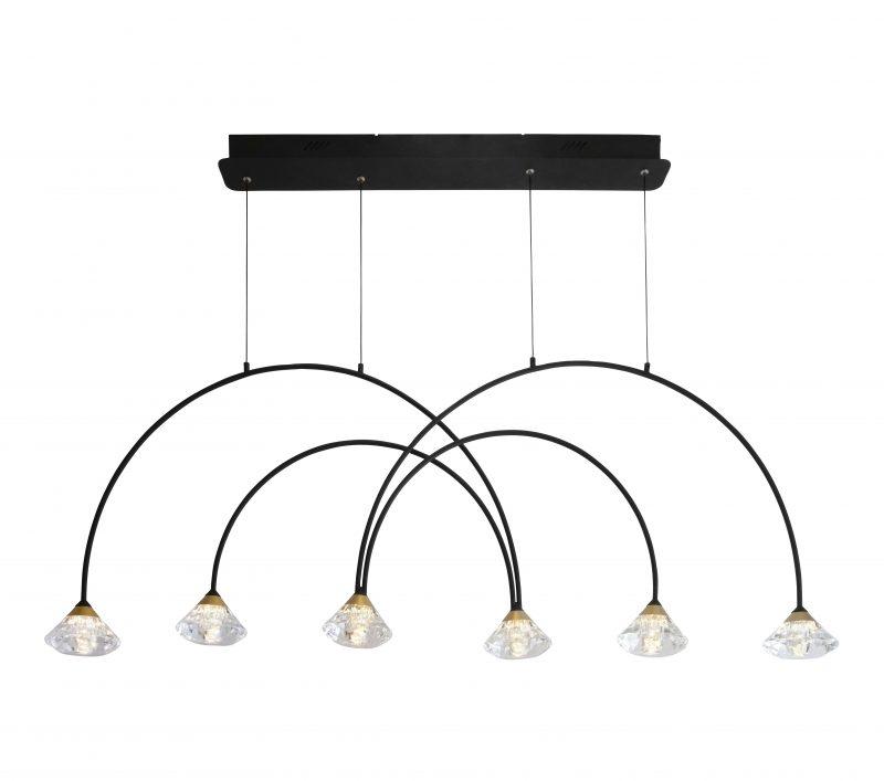 מנורת תליה דגם קשתות קריסטל שישייה 42W