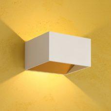 קיר אפ-דאון פריים 7W קוביה לבן/לבן+זהב (2 צבעים)