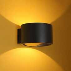 קיר אפדאון פריים 7W עגול שחור/שחור+זהב  (2 צבעים)