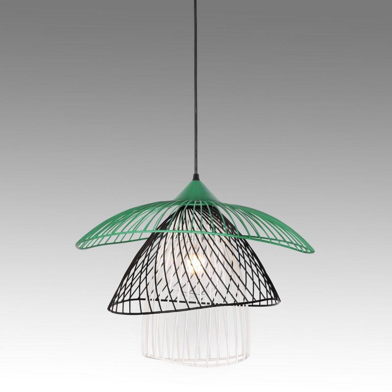 מנורת תליה דגם פלאוור C ירוק+שחור+לבן